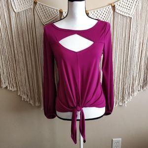 Boston Proper Purple Magenta Cutout Tie Blouse S